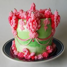 American Overpiped Buttercream Cake by Edward Cabral - White cake with Fruit filling, piped with green marble and hot pink frosting