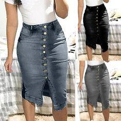 Denim Skirt Buttoned Split Front - Aladdin's Box . Cheap Skirts, Short Skirts, Aladdin, High Waisted Jean Skirts, Denim Skirts, Tommy Hilfiger, Denim Mini, Womens Maxi Skirts, Plus Size Skirts