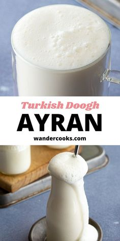 This refreshing drink is an addictive way to rehydrate on a hot summer day. Mixed with sea salt, Ayran is a Turkish yoghurt drink frothed to perfection in seconds and served up icy cold. It pairs perfectly with a hot meal like Karniyarik. Turkish Yogurt, Vietnamese Iced Coffee, 5 Minute Meals, Fancy Drinks, Cook At Home, Easy Weeknight Meals, World Recipes, Sweet Desserts, International Recipes