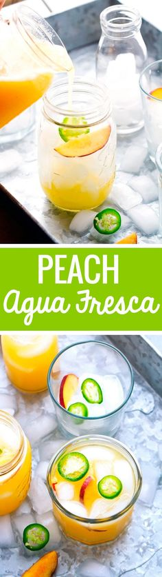 Peach Agua Fresca - A cool and refreshing drink that's refined sugar free and perfect to chill out with this summer!