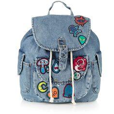 TopShop Unstructured Denim Backpack found on Polyvore featuring bags, backpacks, dot backpack, vintage knapsack, day pack backpack, blue backpack and polka dot backpack
