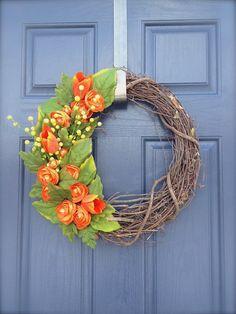 Orange Spring Wreath  Orange Colored Wreath  by WreathsByRebeccaB, $38.00