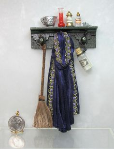 Dollhouse Miniature Witch or Wizard Wall Shelf with Cape, Broom & Bottles #1 #ShadowBox