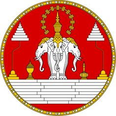 Royal Coat of arms of Laos. Pre-1975 - The Royal Lao Arms is a three headed elephant referred to as Erawan. The three headed elephant actually had the layered umbrella looking object over it's heads as opposed to one on either side.