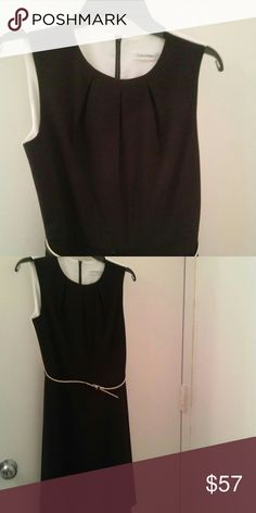 Calvin Klein colorblock fit and flare Calvin Klien colorblock dress Pleated neck detail Fit and flare  Belt included  Size US 4 Back zip closure Perfect for both work and evenings Calvin Klein Dresses