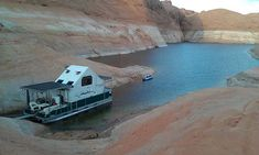 A Chalet folding trailer on a pontoon boat: taken on Lake Powell.