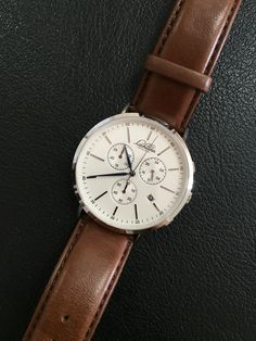 Lachlann Första Chronograph in surgical stainless steel case, blue dauphine hand and genuine brown leather strap. Stainless Steel Case, Chronograph, Brown Leather, Menswear, Watches, Blue, Accessories, Wristwatches, Clocks