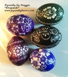 """Pysanky by Maggie, """"Drapanki"""" scratch eggs. www.pysankybasics.com"""