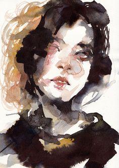 Original Portrait Drawing by Ko Byung Jun Watercolor Artwork, Watercolor Portraits, Figure Painting, Painting & Drawing, Illustration Art, Illustrations, Art For Art Sake, Portrait Art, Aesthetic Art