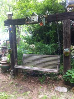 Swing made on railroad tie frame
