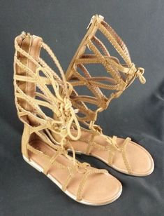 CYBLING Womens Comfy Suede Knotted Open Toe Lace Up Mid Calf Gladiator Flat Sandal