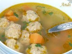 Pitypang-csakis kedvtelésből: húsgombóc leves Cheeseburger Chowder, Soup, Chicken, Meat, Recipes, Rezepte, Soups, Recipe