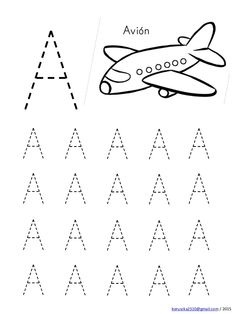 Alphabet in capital letters with drawings Handwriting Worksheets For Kids, Alphabet Tracing Worksheets, Printable Preschool Worksheets, Kindergarten Math Worksheets, Tracing Letters, Preschool Writing, Numbers Preschool, Preschool Learning Activities, Alphabet Activities