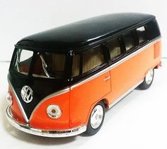 Kinsmart Volkswagen VW 1962 Classic MicroBus 1/32 Black/Orange VanToy Gift New