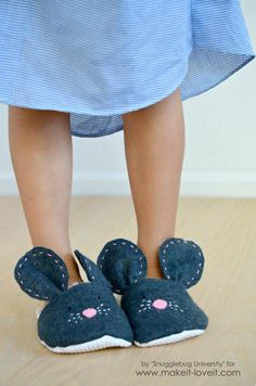 DIY Mouse Slippers.....simple to make in any size!