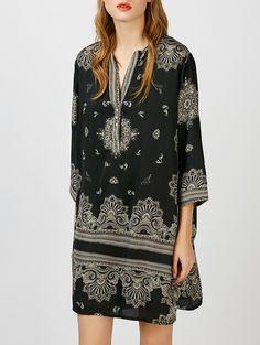 113aca2cb80 Printed V Neck Cuffed Mini Dress. Black Tshirt ...