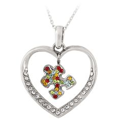 Puzzle Piece Heart Bling Necklace