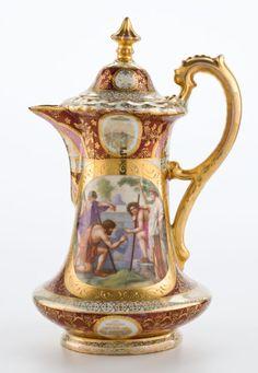 Konvice * na čokoládu, zdobená malbou a zlatem