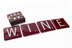 Red Wine Scrabble Coasters made in Tory Hill, Ontario by Artech Glassblowing Studios. Scrabble Coasters, Canadian Artists, Ontario, Red Wine, Upcycle, Studios, Gallery, Tableware, Shop