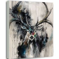 Professional Artist Handmade High Quality Black Art Oil Painting on Canvas Abstract Animal Reindeer Oil Painting for Wall Art