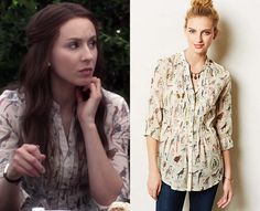 """Spencer wore this bird print pleated shirt in Pretty Little Liars episode """"Thrown from the Ride"""". Pretty Little Liars Episodes, Pretty Little Liars Outfits, Spencer Hastings Style, Spencer Pll, Fashion Tv, Fashion Outfits, Fashion Ideas, Pleated Shirt, Preppy Style"""