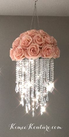This type of floral nursery can be a very inspirational and great idea Acrylic Chandelier, Diy Chandelier, Flower Chandelier, Chandeliers, Nursery Chandelier, Crystal Chandelier Lighting, Girl Nursery, Girl Room, Nursery Decor
