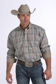 Cinch® Men's Plaid Button-Down Shirt - Grey  #cinch #plaid #buttondownshirt #grey #orange #westernbootsales #pungoridge #westernwear