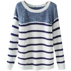 Chicnova Fashion Striped Round Neckline Sweater ($17) ❤ liked on Polyvore featuring tops, sweaters, round neck sweater, striped sweater, stripe sweater, stripe top and striped top