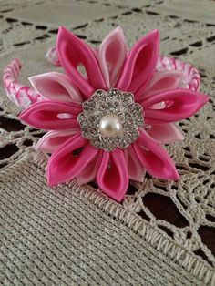 Pink headband hair accessories fascinator with pearl crystals  on Etsy, $18.00