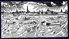 Drawing by Hans Moser in 1570 of Scheldt flood Tudor History, Modern History, Hans Moser, Ruined City, Under The Ocean, Today In History, All Saints, Underwater, Holland