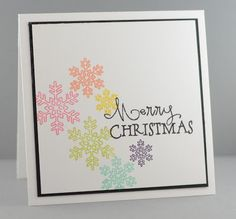 Hand stamped Christmas card by Lynn Mangan using the Merry & Bright set from Verve. #vervestamps