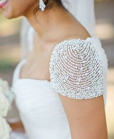 Weddbook is a content discovery engine mostly specialized on wedding concept. You can collect images, videos or articles you discovered organize them, add your own ideas to your collections and share with other people - Beaded cap sleeve Embroidery Fashion, Beaded Embroidery, Hand Embroidery, Embroidery Designs, Wedding Dress Sleeves, Wedding Gowns, Dresses With Sleeves, Couture Details, Fashion Details