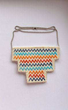 Bib necklace embroidered geometric zigzags in by AnAstridEndeavor, $40.00