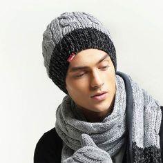 Mens beanie hats black gray knit hats for winter Mens Knit Beanie, Knit Hats, Best Black, Black And Grey, Gray, Men's Waistcoat, Hat For Man, Knitting, Winter