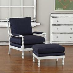 Jenny Lind Chair & Ottoman (Denali Denim) | The Land of Nod