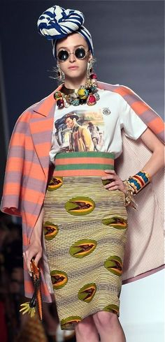 Stella Jean > Nice mix of prints  Like the turban detail on this model