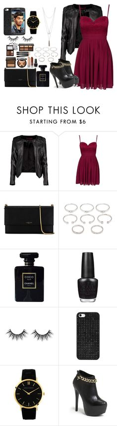 """a night out with Bae Zayn"" by sabrina-emo ❤ liked on Polyvore featuring Boohoo, Elise Ryan, Lanvin, Forever 21, Chanel, OPI, BaubleBar, Larsson & Jennings, Steve Madden and Samsung"