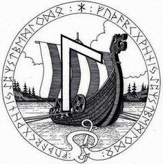 Laguz - art by Miky from his Book of Shadows Viking Symbols, Viking Art, Viking Warrior, Viking Runes, Norse Tattoo, Viking Tattoos, Rabe Tattoo, Elder Futhark Runes, Wiccan Spells