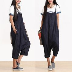 Washed denim blue jeans pant straps / loose off crotch harem pants : Pantalons, jeans, shorts par exceptionid Blue Denim, Washed Denim, Blue Jeans, Pants For Women, Clothes For Women, Style Casual, Mode Style, Japanese Fashion, Diy Clothes