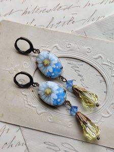 Flower dangle earrings blue and yellow earrings vintage | Etsy Sapphire Necklace, Amethyst Earrings, Rhinestone Earrings, Vintage Earrings, Crystal Necklace, Dangle Earrings, Blue Choker, Edwardian Jewelry, Yellow Earrings