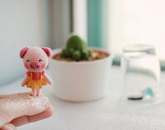 Crochet Tiny Pig doll by FairyFinFin on Etsy, $25.00