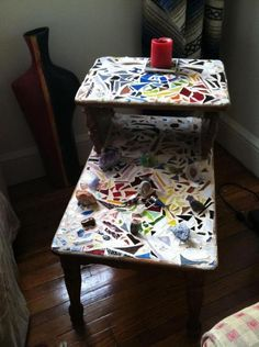 Here is a table I put a mosaic on recently and just happened to write a DIY how to!