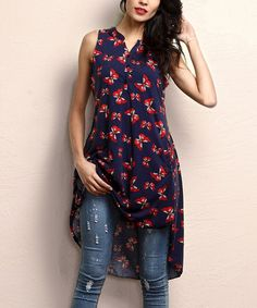 Look what I found on #zulily! Navy Butterfly Button-Front Sleeveless Tunic #zulilyfinds