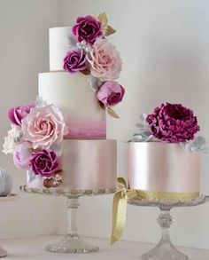 Rose pink wedding cake inspiration from Featured Cake: Cotton & Crumbs; Floral Wedding Cakes, Elegant Wedding Cakes, Cool Wedding Cakes, Beautiful Wedding Cakes, Gorgeous Cakes, Wedding Cake Designs, Pretty Cakes, Elegant Cakes, Wedding Cupcakes