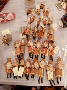 Collection of antique spun cotton Santas . Japan c 1930.