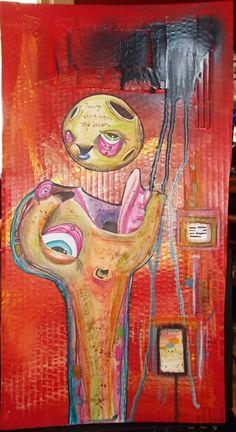"""dreams"" anthead 12X23 recycled cardboard outsider folk art lowbrow pop moon  #OutsiderArt"