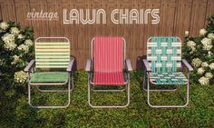 gelinabuilds: Vintage Lawn Chairs Classic aluminum-framed outdoor chairs inspired by these wonderful paintings. Three different styles: webbed/woven, sling, and horizontal bands.