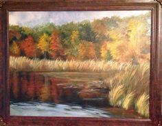 Le Torbiere di Iseo , l'autunno irrompe con i suoi magnifici colori, i miei colori del cuore, olio su tela  60x80