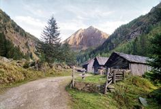 Assembly of huts in Schladminger Tauern, Austria.
