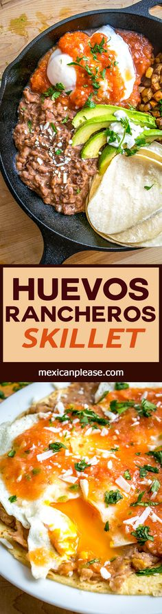 Refried beans, potatoes and a homemade Tomato Chipotle Salsa make it easy to please everyone with this Huevos Rancheros Skillet. Lots of ways to customize this for picky eaters too! mexicanplease.com